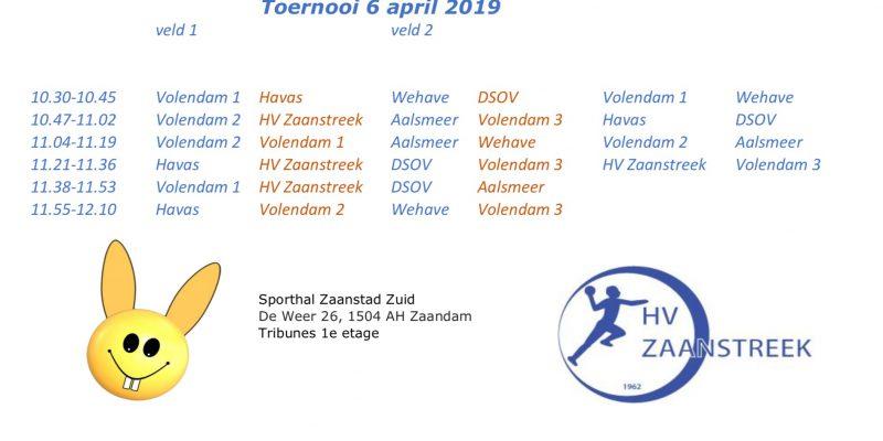 Wedstrijdschema F-jeugd Toernooi 06-04-2019